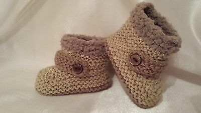 Baby Boys Hand Knitted Boots / Booties Early Baby, Nb, 0-3 M -3-6 M-6-9M
