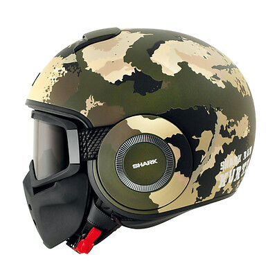 Casque Shark Raw Kurtz Mat Green Ecru Black Moto Harley Davidson Custom