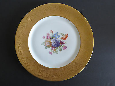 "Antique Heinrich H & C Selb Studios Gold Plated Floral Show Plate 11"" Wide"