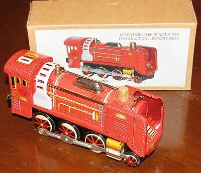 Christmas 1908 Red Train Classic Wind Up Tin Toy Brand New