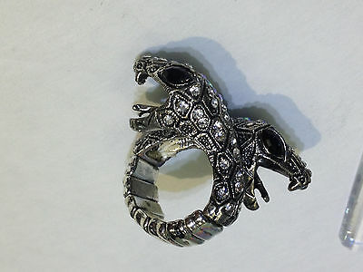 Fashion Jewelry Lizard Snake Twin Heads Ring Iridescent Stones  Size 7 8 9 10 11