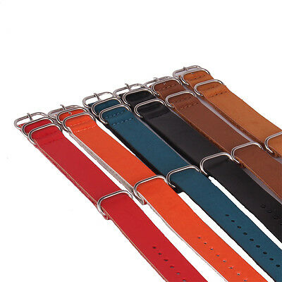 Solid Black Brown Nato 20mm PU leather Belts Watch Straps Wristwatch Band