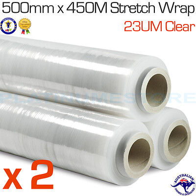 2 Rolls 500mm x 450m 23um Clear Hand Stretch Wrap Film Pallet Shrink Wrapping