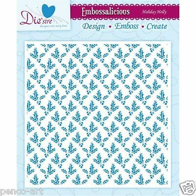 "Die'Sire embossalicious Holiday Holly embossing folder 6x6"" Christmas Xmas"