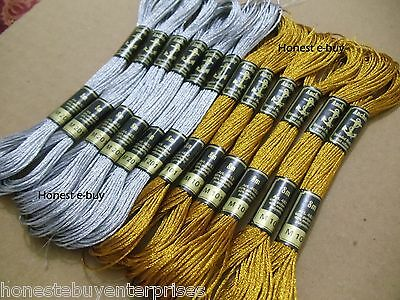 12 Anchor Metallic Embroidery Floss Mouline Skeins thread Gold & Silver Colour