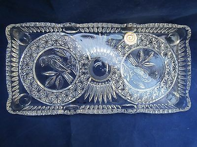 """VINTAGE HAND CUT """"ECHT BLEIKRISTALL"""" LEAD CRYSTAL Serving Tray WEST GERMANY"""