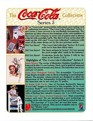Coca Cola Collection Card Promotional Sheet - Series 3 - 1994 - NEW OLD STOCK
