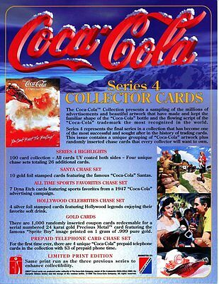 Coca Cola Collection Card Promotional Sheet - Series 4 - 1995  - NEW OLD STOCK