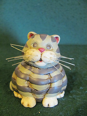 HAND CRAFTED FAT CAT CLAY FIGURINE W NYLON BRISTLE WHISKERS