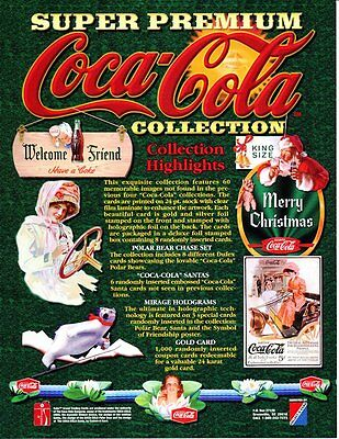 Coca Cola Collection Card Promotional Sheet - Super Premium- 1995 -NEW OLD STOCK