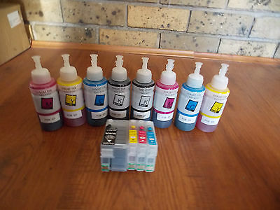 Refillable Cartridges For Epson Wf-3620,3640,7610,7620 + 2 Sets Of Ink 252,252Xl