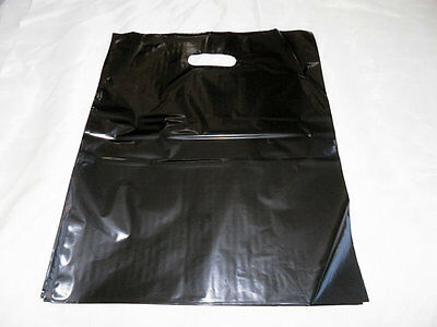 50 12x15 Glossy Black Low-Density Plastic Merchandise Bags WHandles Retail Bags