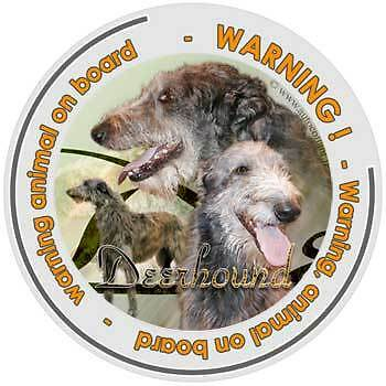 Circular Dogs sticker attention scottish Deerhound on board
