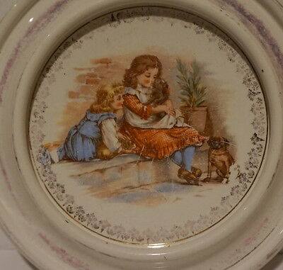 Vintage Royal Baby Plate Patented 1906 England Children Dogs Dish Bowl