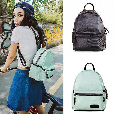 Cute Women Faux Leather Python Small Mini Backpack Travel Rucksack Purse Casual