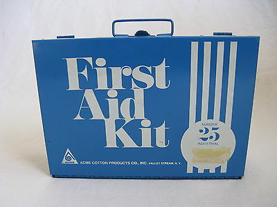 Vintage 1970s First Aid Kit Industrial Case Acme Cotton Products Number 25