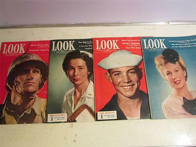 LOT OF 4 1942 WWII ERA LOOK MAGAZINES SEPT 8, 22, OCT 20, NOV 3 BAGGED & BORADED