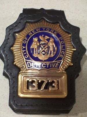 NYPD Detective Style Badge Cut-Out Leather Belt-Clip -  (badge not included)