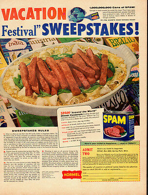 1959 vintage ad, SPAM Vacation Festival Sweepstakes Contest!  080613