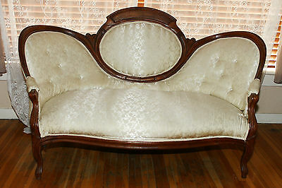 Antique Victorian Settee Off white Silk Fabric