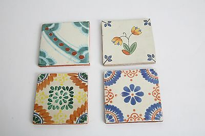 Lot of 4 - 4x4 Arts and Crafts Mexican Hand Painted Glazed Terra Cotta Tiles - 2