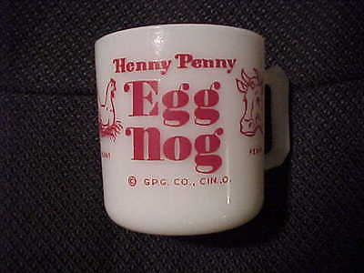 Vintage Hazel Atlas Henny Penny Egg Nog Milk Glass Red on White Coffee Mug