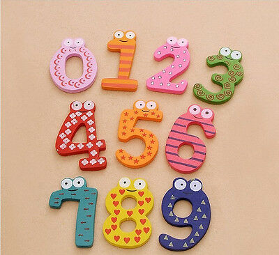 10 Pcs Wooden Fridge Magnet Letter & Number Kids Baby Educational Toy Stickers