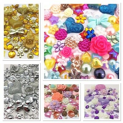 Mixed Flatbacks Hearts Resin Pearls Bow Flower Embellishments Cabochon