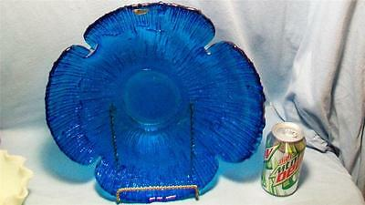 Large Blenko Blue Serving Tray with Original Tag