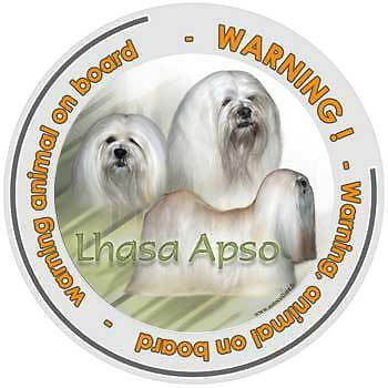 Circular Dogs sticker attention Lhasa-Apso on board