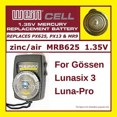 Gossen Luna Pro S & Lunasix 3 Lightmeters - Battery 1,35 V MRB625 Zinc/Air