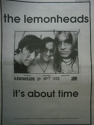 THE LEMONHEADS - IT,S ABOUT TIME - SINGLE RELEASE - B/W ADVERT - 11 x 15 inch