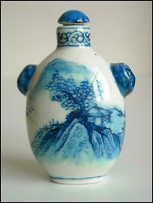 Chinese Blue And White Porcelain Handmade Landscape Snuff Bottle s1238