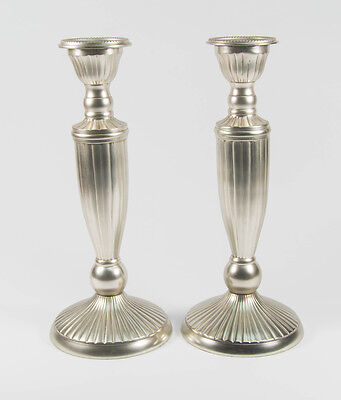 Victorian Pewter Finished Candle Sticks, Candelabra- Pair ,Etian Decor