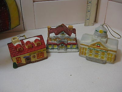 Lot 3 Badcock Collectible Village Bell Ornaments 1998/1999/2000  No Boxes