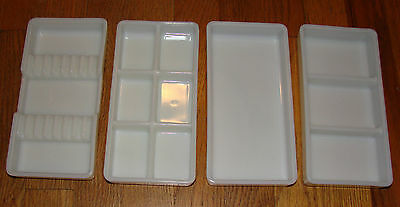 "4 - 4""x8"" Antique Dental Cabinet Trays Milk Glass American Cabinet Co & Nevamar"