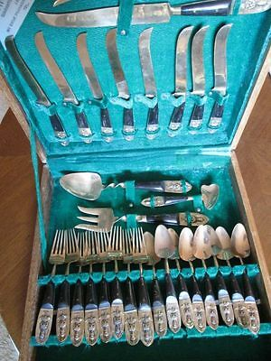 Vintage Cutlery Set 8 Metal+Wood Bodah Siam 29 Pieces in a wooden box Q266