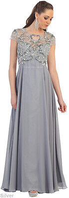 New Short Sleeve Mother Of The Bride Groom Gown  Formal Evening Dress Plus Size