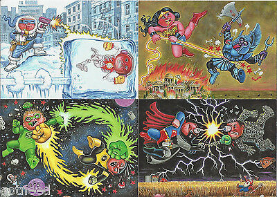 2014 USA Garbage Pail Kids Series 2 COMPLETE BATTLES Set - 4 Card Set