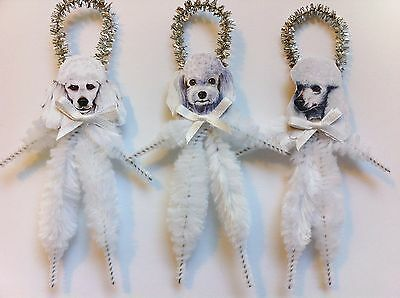 POODLE white puppy dogs vintage style chenille ORNAMENTS set of 3