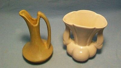 Two Niloak Pottery Pieces Green Yellow Ewer Cream Winged