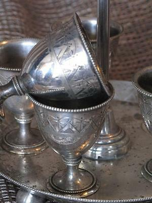 Old English Silver Plated Liquor Set with Holder / Tray and Five Glasses...