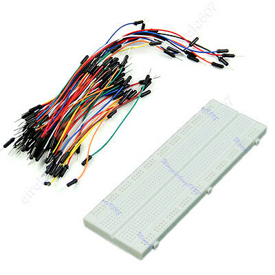 MB-102 830 Point Solderless PCB Breadboard + Mix Color Jump Cable Wires 65pcs K