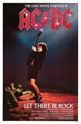 Ac/dc Movie Poster Promo Let There Be Rock 1982 One Sheet Bon Scott Malcom Young