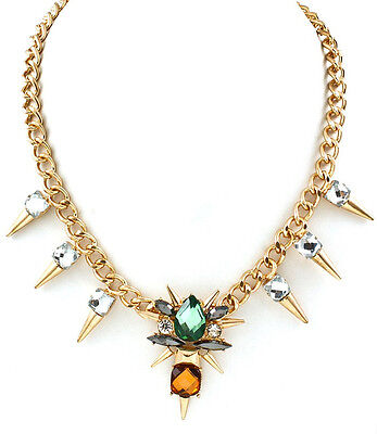 Tribal Gold Spike Crystal Gem Jewel Statement Fashion Necklace