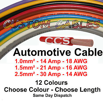 1.5mm 21A - 2.5mm 30A AUTOMOTIVE CABLE 1m-50m Auto Wiring Loom Marine Wire Amps