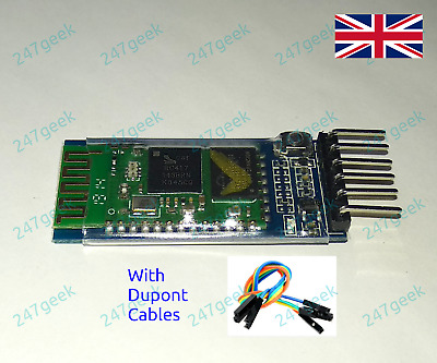 HC05 HC-05 Bluetooth Serial Module + Breakout Board + Dupont Cables  - UK TESTED