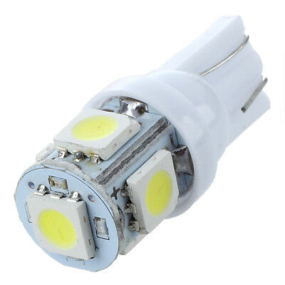 White Car Side Light Wedge Tail Lamp Bulb UK 5x T10 5 LED 5050 SMD W5W 501 Xenon