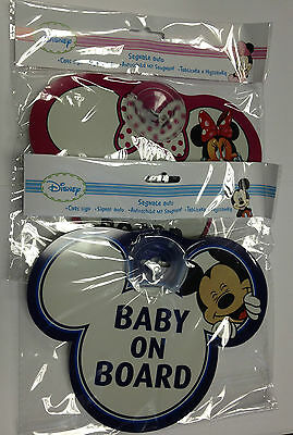 Brand New Disney Baby On Board Car Signs Mickey Baby Child In Car Warning