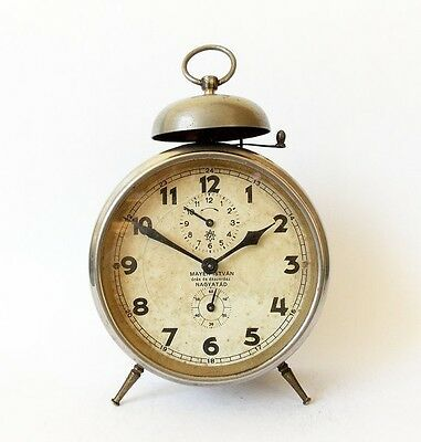 Antique Hungarian Junghans Alarm clock/Junghans/Mayer Istvan Desk Table  Retro